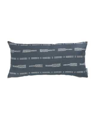 """NIK BROKEN STRIPE PILLOW COVER WITHOUT INSERT, NAVY, 12"""" x 24"""" - McGee & Co."""