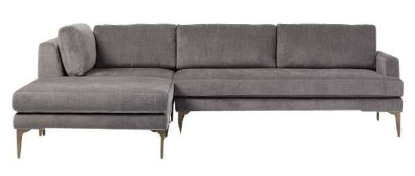 Andes Sectional Set 02: Right Arm 2.5 Seater Sofa, Corner, Ottoman, Poly, Distressed Velvet, Mineral Gray, Blackened Brass - West Elm