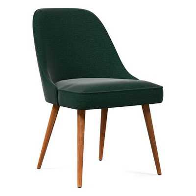 Mid-Century Upholstered Dining Chair, Performance Velvet, Green - West Elm