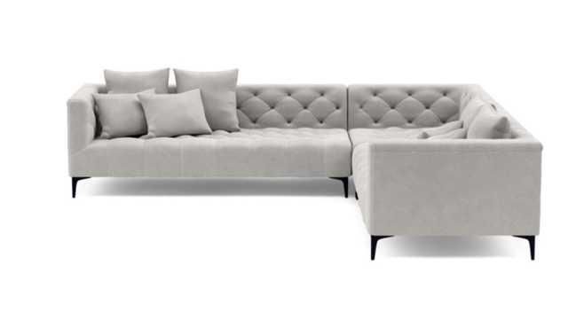 Ms. Chesterfield Corner Sectional with Grey Sterling Fabric and Matte Black legs - Standard Depth - Interior Define