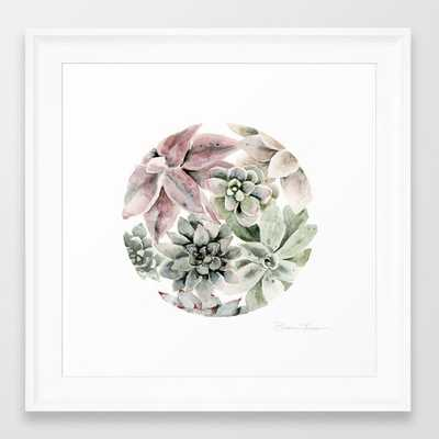 """Circular Succulent Watercolor Framed Art Print - 12"""" x 12"""" - Scoop White - Society6"""