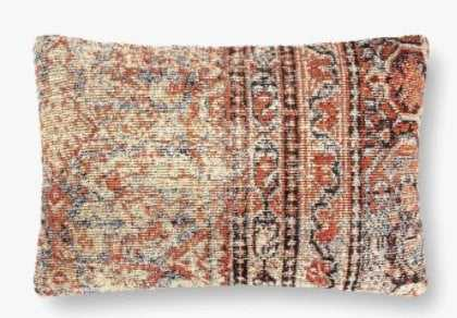 """Loloi PILLOWS P0880 Red / Multi 13"""" x 21"""" Cover w/Poly - Loma Threads"""