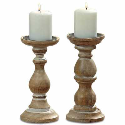 2 Piece Wood Candlestick Set - Wayfair