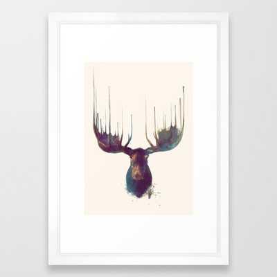 Moose Framed Art Print, 15 x 21 Vector White - Society6