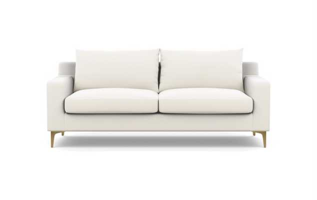 """Sloan Sofa in Ivory Fabric with Brass Plated Legs - 83"""" - Interior Define"""