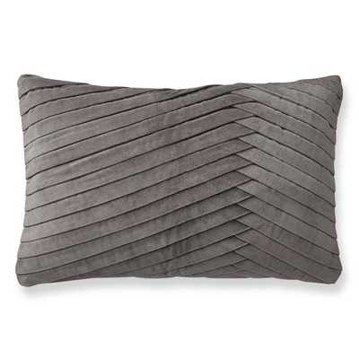 "Pleated Velvet Pillow Cover, 14"" X 22"", Steeple Grey - Williams Sonoma"