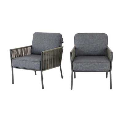 Hampton Bay Tolston Wicker Outdoor Patio Stationary Lounge Chairs with Charcoal Cushions (2-Pack) - Home Depot