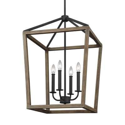 "84.5"" H x 18"" W x 18"" D Weathered Oak 4-Light Lantern Square / Rectangle Pendant - Wayfair"
