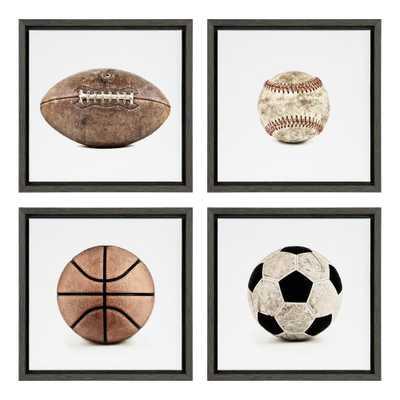 DesignOvation Sylvie Sports Framed Canvas Art Set by Shawn St. Peter - Gray - Overstock