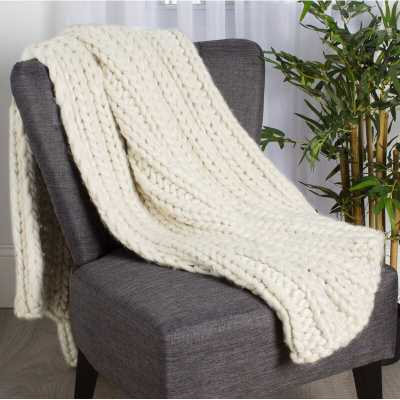 Chunky Knit Throw - Natural White - Wayfair