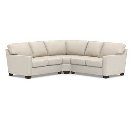 BUCHANAN SQUARE ARM UPHOLSTERED CURVED 3-PIECE L-SHAPED SECTIONAL WITH WEDGE, Raw Slub Cotton, Oatmeal - Pottery Barn