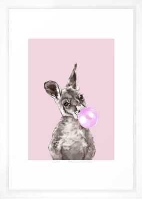 "Bubble Gum Baby Kangaroo Framed Art Print - 15"" X 21"" - Society6"