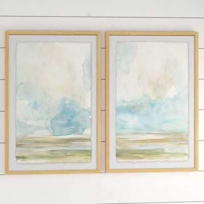 "'Pale Sunset Diptych' - 2 Piece Picture Frame Print Set on Paper, 36"" H x 24"" W x 1.5"" L - Wayfair"