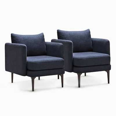 Auburn Chair, Twill, Black Indigo, Dark Mineral, Set of 2 - West Elm