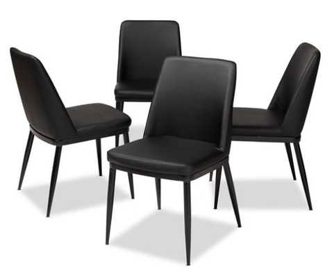 BAXTON STUDIO DARCELL MODERN AND CONTEMPORARY BLACK FAUX LEATHER UPHOLSTERED DINING CHAIR (SET OF 4) - Lark Interiors