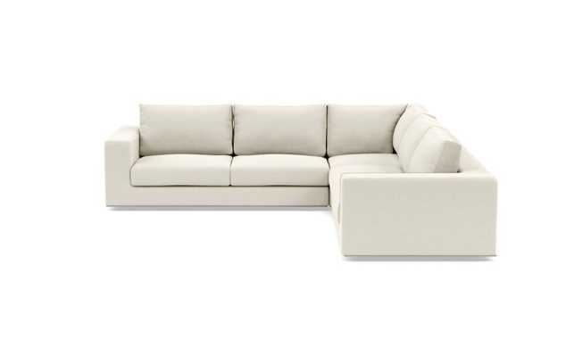 """WALTERS Corner Sectional Sofa, Kid and Pet Friendly Chalk Heathered Weave, 123"""" - Interior Define"""
