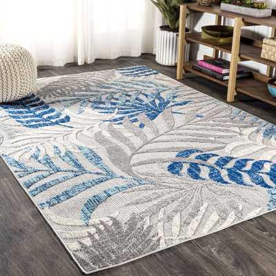 Mandalay Floral Gray/Blue/Cream Indoor/Outdoor Area Rug - Wayfair