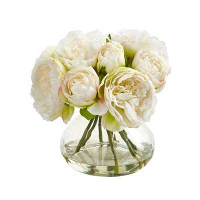 Peony Artficial Arrangement in Vase - Fiddle + Bloom