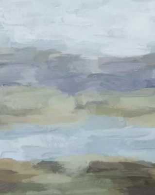 Sky Gray Blue Sage Green Abstract Wall Art, Painting Art, Lake Nature Painting Print, Modern Canvas Print - Society6