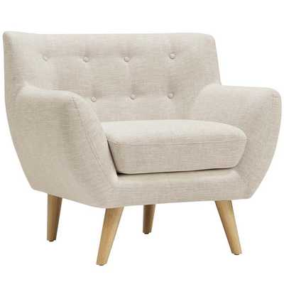 Remark Upholstered Fabric Armchair in Beige - Modway Furniture