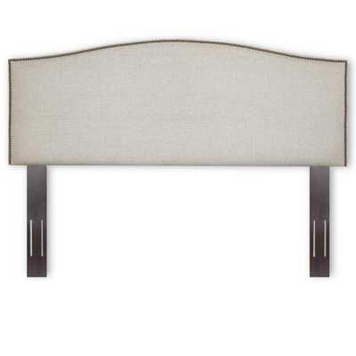 Carlisle Carlisle King Upholstered Headboard Panel with Solid Wood Adjustable Frame and Nail Head Trim Design, Grande Pearl - Home Depot