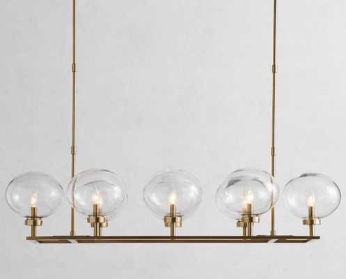 "Maisie Glass Globe Chandelier, Bronze, 52"" Long X 25"" Wide - Pottery Barn"