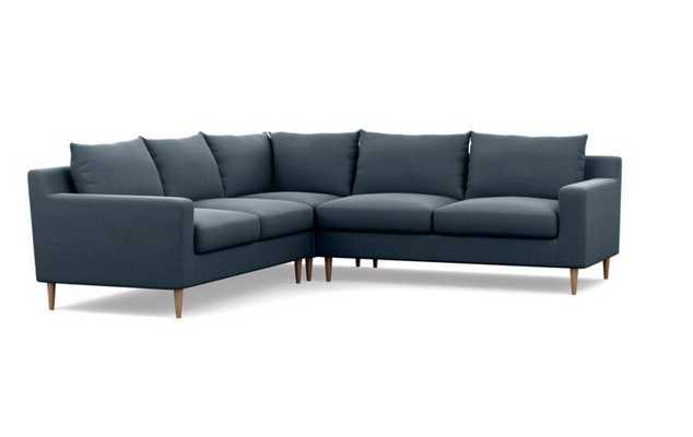 "SLOAN Corner Sectional Sofa - Structured Cloth, Aegean - Natural Oak Tapered Round Wood Leg - 97""L - Interior Define"