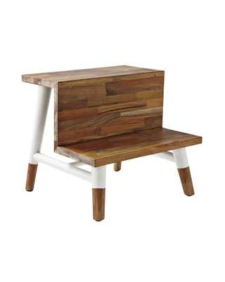 Teak Step Stool - White - Serena and Lily