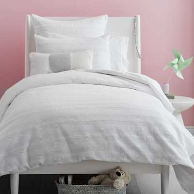 Organic Dobby Ladder Stripe Duvet Cover- White - West Elm