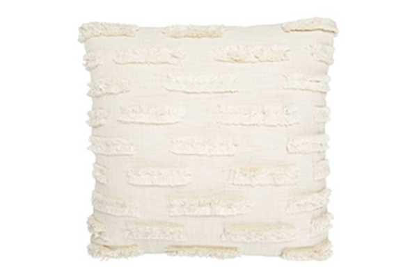 White Cotton Embroidered Pillow with Lines of Decorative Fringe - Nomad Home