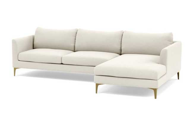 OWENS Sectional Sofa with Right Chaise - Chalk - Brass Plated Sloan L Leg - Interior Define