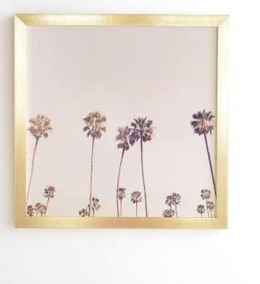SUNNY CALI PALM TREES Framed Wall Art, 30x30 - Wander Print Co.