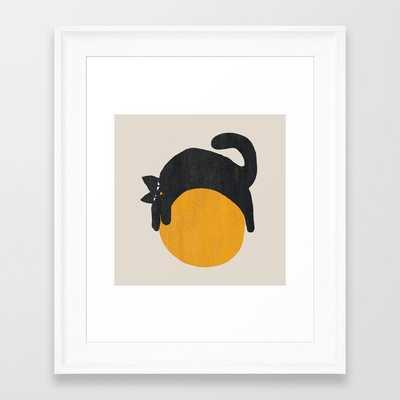 Cat with ball Framed Art Print - Society6