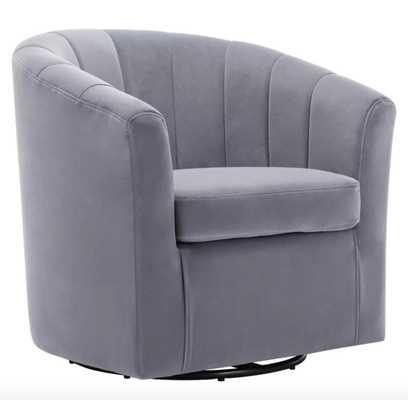 Barrentine Swivel Barrel Chair Slate Gray Velvet - Wayfair