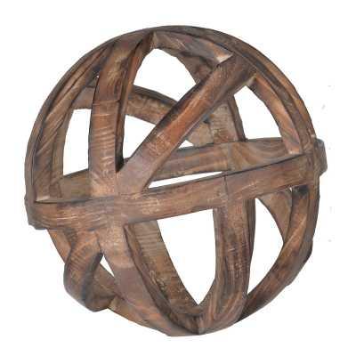"Brown Decorative Wood Ball Sculpture - 10"" - Birch Lane"