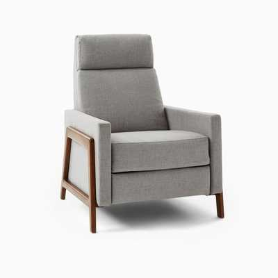 Spencer Recliner, Performance Coastal Linen, Platinum, Walnut - West Elm