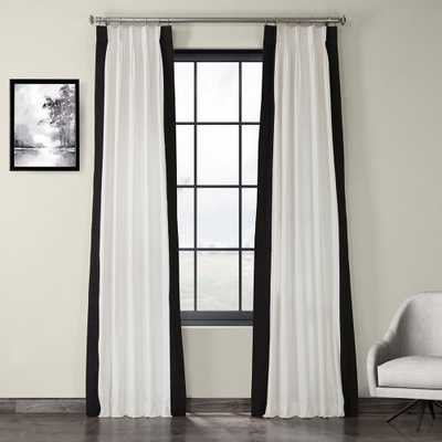 Fresh Popcorn and Black Room Darkening Pleated Vertical Colorblock Curtain - 25 in. W x 84 in. L - Home Depot