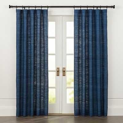 Silvana Blue Silk Curtain Panel 48x96 - Crate and Barrel