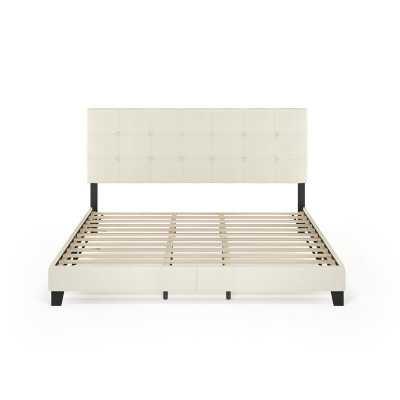 Kaniel Button Tufted Upholstered Platform Bed, king, linen - Wayfair