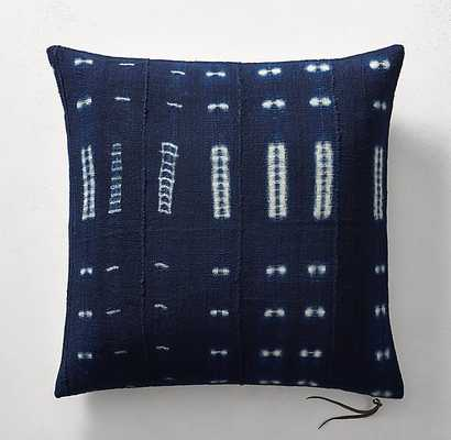 "HANDCRAFTED AFRICAN INDIGO SHIBORI DASH PILLOW COVER- 26"" - RH"