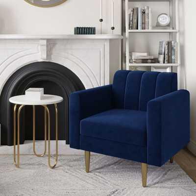 Olive Channel Back Mailbox Arm Chair, Poly, Performance Velvet, Ink Blue, Antique Brass - West Elm