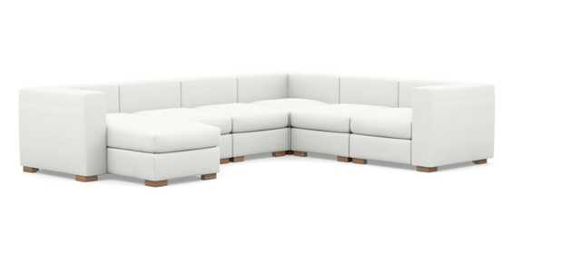 Toby Corner Sectionals with Modular in Swan Fabric with facing left chaise swan, natural oak - Interior Define