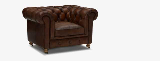 Liam Leather Chair - Palermo Coffee - Joybird