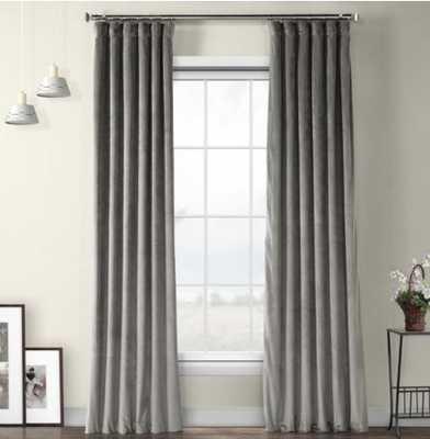 Exclusive Fabrics & Furnishings Destiny Grey Plush Velvet Curtain - 50 in. W x 96 in. L - Home Depot