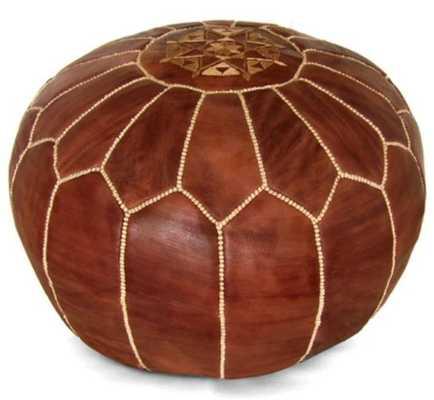 Ikram Design Round Moroccan Leather Pouf_Brown - Hayneedle