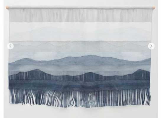 Indigo Abstract Watercolor Mountains Wall Hanging - Society6