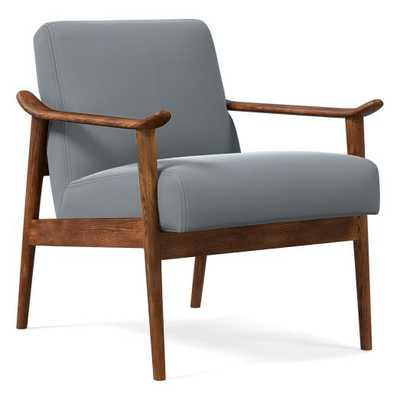 Midcentury Show Wood Chair, Poly, Astor Velvet, Steel Blue, Pecan - West Elm