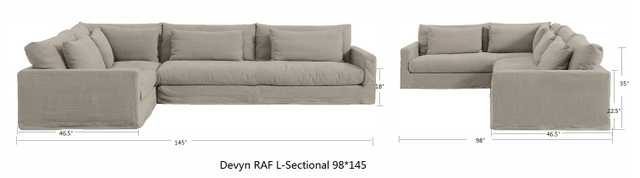 """Devyn Modular Right Arm Facing L-Sectional 98""""x145"""" with benchcushions - Sixpenny"""