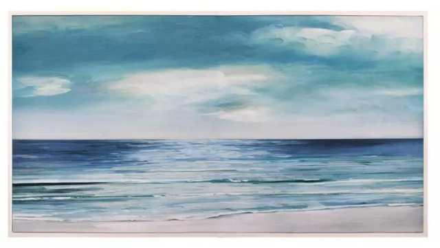 "24"" x 48"" Shore Swatland Framed Wall Art Canvas Blue/Silver - Fine Art Canvas - Target"
