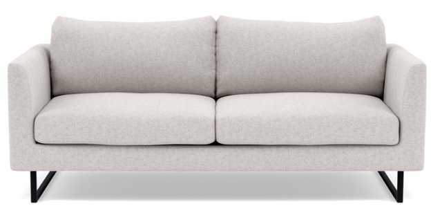 OWENS Loveseat in Pebble Heathered Weave with Matte Black Square Outline Leg - Interior Define